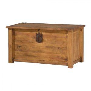 arcón baúl de madera rústico y forja